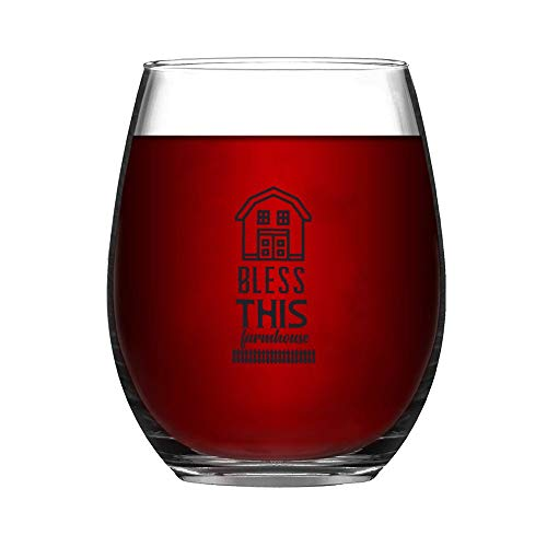Bless This Farmhouse Stemless Wine GlassWine Taster Glasses For Men Decorative Wine Glass Etched Wine Glass Sandblasted Engraved Wine Glass 0