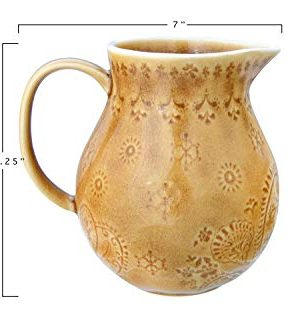 Bloomingville 32 Oz Debossed Stoneware Crackle Glaze Finish Each One Will Vary Pitcher Amber 0 1 300x333