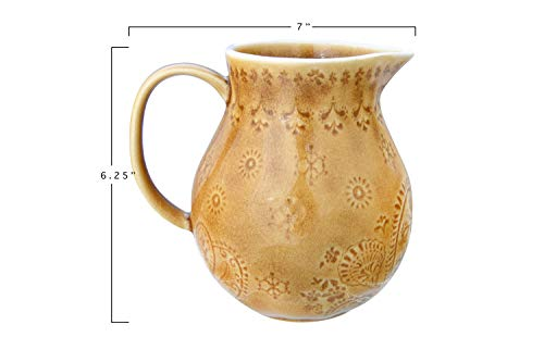 Bloomingville 32 Oz Debossed Stoneware Crackle Glaze Finish Each One Will Vary Pitcher Amber 0 1