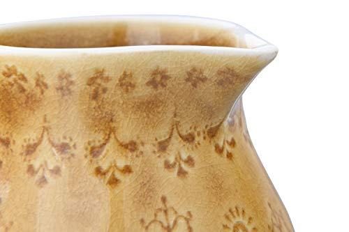 Bloomingville 32 Oz Debossed Stoneware Crackle Glaze Finish Each One Will Vary Pitcher Amber 0 3