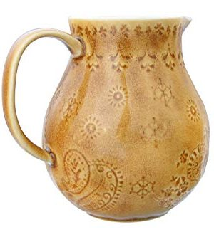 Bloomingville 32 Oz Debossed Stoneware Crackle Glaze Finish Each One Will Vary Pitcher Amber 0 5 300x333