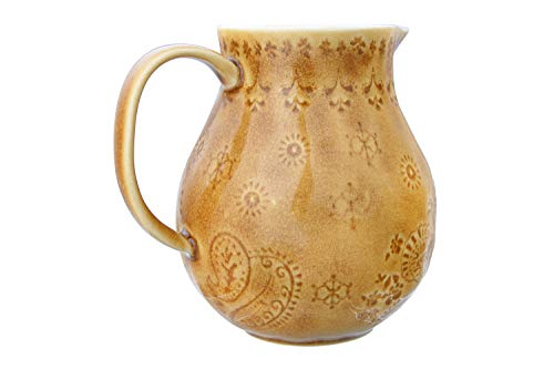 Bloomingville 32 Oz Debossed Stoneware Crackle Glaze Finish Each One Will Vary Pitcher Amber 0 5