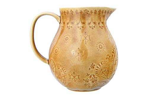 Bloomingville 32 Oz Debossed Stoneware Crackle Glaze Finish Each One Will Vary Pitcher Amber 0
