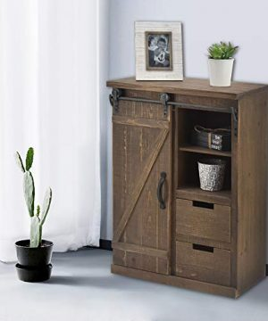 Bonnlo 32 H Rustic Storage Cabinet With Sliding Barn Doors Hardware And 2 Drawers Farmhouse Buffet Entryway End Table Console Cabinet Vintage Furniture No Need Assembly 0 300x360