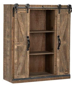 Bonnlo 32 H Rustic Wooden Wall Mounted Storage Cabinet With Sliding Barn Double Doors Farmhouse Vintage Cabinet For Kitchen Dining Bathroom Living Room 0 300x360