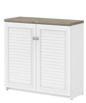 Bush Furniture Fairview 2 Door Low Storage Cabinet Shiplap GrayPure White 0 300x360