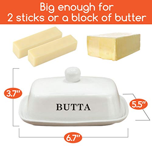 Butter Dish Funny White Ceramic Butter Dish With Lid LARGE Fits Block Of Butter Or 2 Sticks 0 0