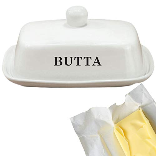Butter Dish Funny White Ceramic Butter Dish With Lid LARGE Fits Block Of Butter Or 2 Sticks 0 2