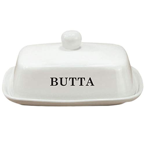 Butter Dish Funny White Ceramic Butter Dish With Lid LARGE Fits Block Of Butter Or 2 Sticks 0
