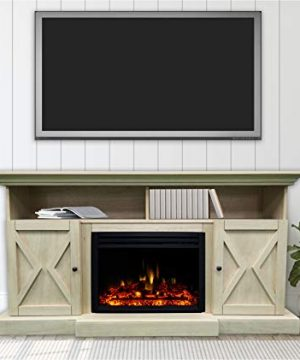 CAMBRIDGE Sandstone 62 In Summit Farmhouse Style Electric Fireplace Mantel With Deep Log Insert 0 300x360