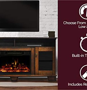 CAMBRIDGE Savona Heater With 59 In Walnut TV Stand Enhanced Log Display Multi Color Flames And Remote CAM6022 1WALLG3 Electric Fireplace 0 1 300x310