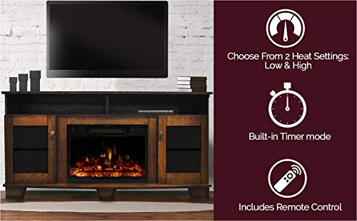 CAMBRIDGE Savona Heater With 59 In Walnut TV Stand Enhanced Log Display Multi Color Flames And Remote CAM6022 1WALLG3 Electric Fireplace 0 1