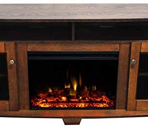 CAMBRIDGE Savona Heater With 59 In Walnut TV Stand Enhanced Log Display Multi Color Flames And Remote CAM6022 1WALLG3 Electric Fireplace 0 300x260
