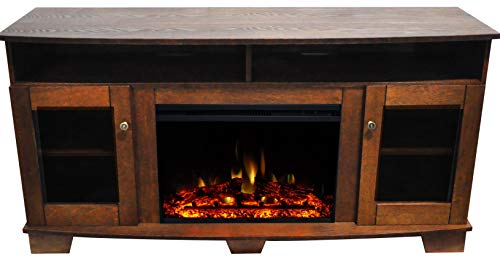 CAMBRIDGE Savona Heater With 59 In Walnut TV Stand Enhanced Log Display Multi Color Flames And Remote CAM6022 1WALLG3 Electric Fireplace 0