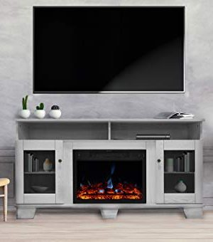 CAMBRIDGE Savona Heater With 59 In White TV Stand Enhanced Log Display Multi Color Flames And Remote CAM6022 1WHTLG3 Electric Fireplace 0 300x340
