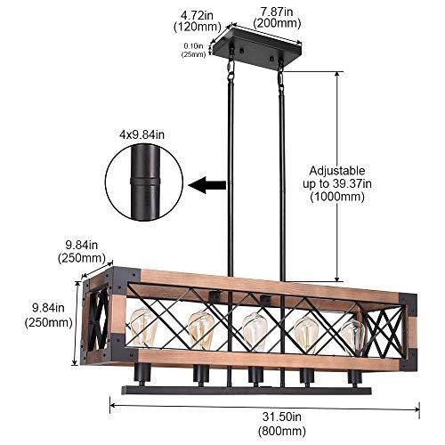 CCS Wood Metal Rectangle Chandelier Farmhouse Kitchen Island Fixture 5 Lights Edison E26 Black 0 1