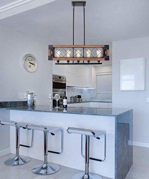 CCS Wood Metal Rectangle Chandelier Farmhouse Kitchen Island Fixture 5 Lights Edison E26 Black 0 2 300x360