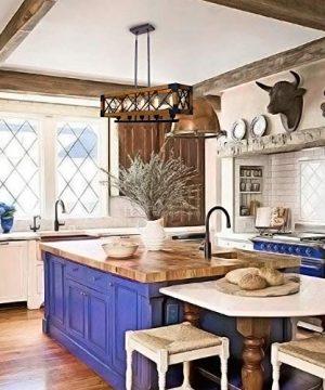 CCS Wood Metal Rectangle Chandelier Farmhouse Kitchen Island Fixture 5 Lights Edison E26 Black 0 3 300x360