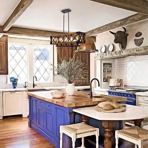 CCS Wood Metal Rectangle Chandelier Farmhouse Kitchen Island Fixture 5 Lights Edison E26 Black 0 3