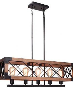 CCS Wood Metal Rectangle Chandelier Farmhouse Kitchen Island Fixture 5 Lights Edison E26 Black 0 300x360