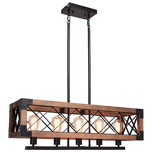CCS Wood Metal Rectangle Chandelier Farmhouse Kitchen Island Fixture 5 Lights Edison E26 Black 0
