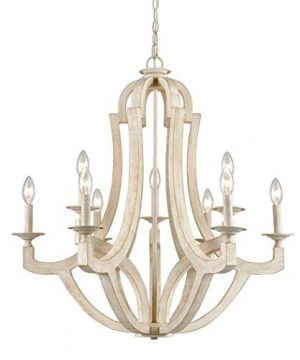 CLAXY 9 Light Wood Chandeliers Distressed Off White Candelabra Farmhouse Chandeliers 0 300x360