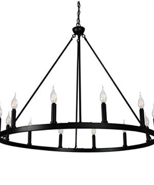 Cenports Canyon Home 12 Light Chandelier Wagon Wheel 37 Wide Matte Black Steel FrameLarge Home DecorationFoyer Entryway Dining Room 0 300x360