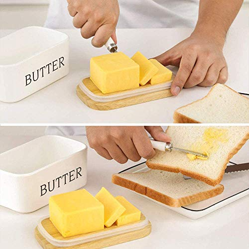 Ceramic Butter Dish With Natural Bamboo Lid And Knife Large Airtight Porcelain Butter Keeper Container For Fresh Spreadable Butter Farmhouse Style Ceramic Butter 650 ML 0 1