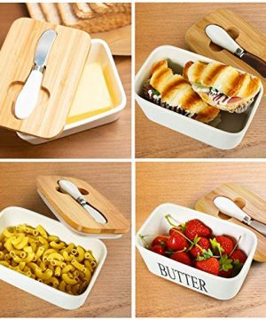 Ceramic Butter Dish With Natural Bamboo Lid And Knife Large Airtight Porcelain Butter Keeper Container For Fresh Spreadable Butter Farmhouse Style Ceramic Butter 650 ML 0 2 300x360