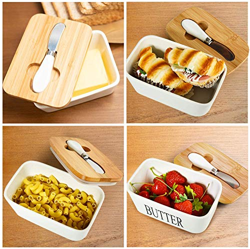 Ceramic Butter Dish With Natural Bamboo Lid And Knife Large Airtight Porcelain Butter Keeper Container For Fresh Spreadable Butter Farmhouse Style Ceramic Butter 650 ML 0 2