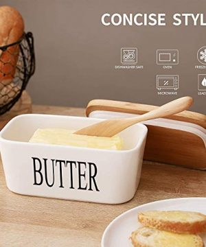 Ceramic Butter Dish With Natural Bamboo Lid And Knife Large Airtight Porcelain Butter Keeper Container For Fresh Spreadable Butter Farmhouse Style Ceramic Butter 650 ML 0 3 300x360