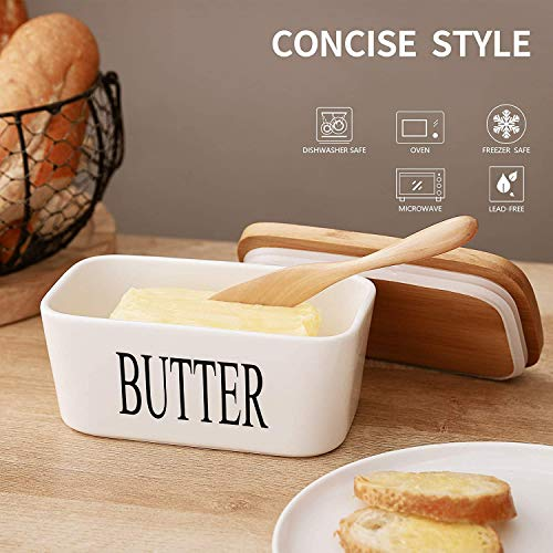 Ceramic Butter Dish With Natural Bamboo Lid And Knife Large Airtight Porcelain Butter Keeper Container For Fresh Spreadable Butter Farmhouse Style Ceramic Butter 650 ML 0 3