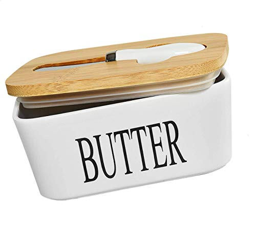 Ceramic Butter Dish With Natural Bamboo Lid And Knife Large Airtight Porcelain Butter Keeper Container For Fresh Spreadable Butter Farmhouse Style Ceramic Butter 650 ML 0