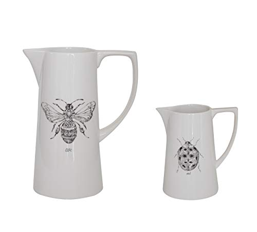 Creative Co Op White Ceramic Pitcher With Bee Image 0 0