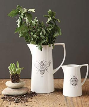 Creative Co Op White Ceramic Pitcher With Bee Image 0 1 300x360