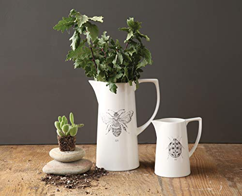 Creative Co Op White Ceramic Pitcher With Bee Image 0 1