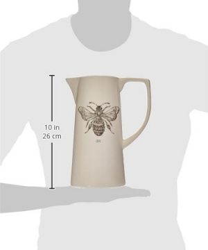 Creative Co Op White Ceramic Pitcher With Bee Image 0 2 300x360