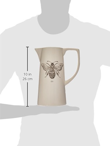 Creative Co Op White Ceramic Pitcher With Bee Image 0 2