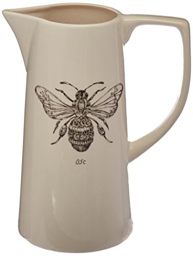 Creative Co Op White Ceramic Pitcher With Bee Image 0