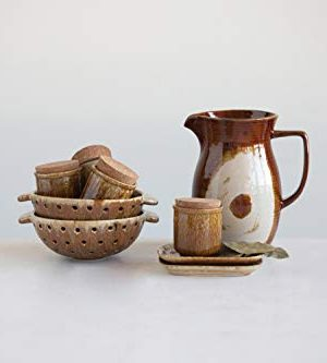 Creative Co Op 42 Oz Stoneware Reactive Glaze Finish Each One Will Vary Pitcher Brown 0 1 300x333