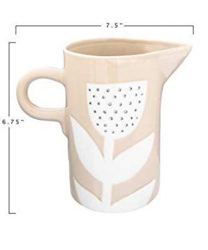 Creative Co Op DF2724 24 Oz Stoneware Hand Painted Flower Design Pitcher Tan 0 2 300x360