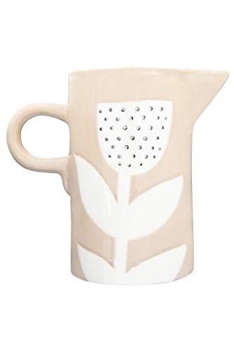 Creative Co Op DF2724 24 Oz Stoneware Hand Painted Flower Design Pitcher Tan 0