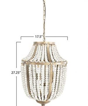 Creative Co Op EC0269 Creative Co Op Metal Chandelier With Wood Beads Ceiling Lights Antique Brass And Distressed Grey 0 0 300x360