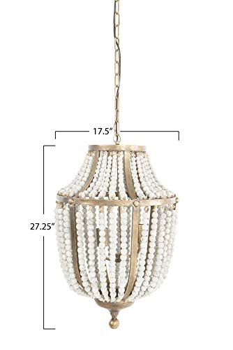 Creative Co Op EC0269 Creative Co Op Metal Chandelier With Wood Beads Ceiling Lights Antique Brass And Distressed Grey 0 0