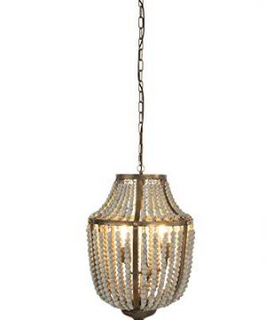 Creative Co Op EC0269 Creative Co Op Metal Chandelier With Wood Beads Ceiling Lights Antique Brass And Distressed Grey 0 1 300x360