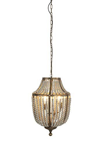 Creative Co Op EC0269 Creative Co Op Metal Chandelier With Wood Beads Ceiling Lights Antique Brass And Distressed Grey 0 1