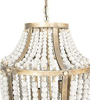 Creative Co Op EC0269 Creative Co Op Metal Chandelier With Wood Beads Ceiling Lights Antique Brass And Distressed Grey 0 2 300x334