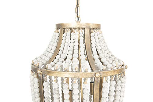 Creative Co Op EC0269 Creative Co Op Metal Chandelier With Wood Beads Ceiling Lights Antique Brass And Distressed Grey 0 2