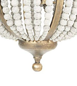Creative Co Op EC0269 Creative Co Op Metal Chandelier With Wood Beads Ceiling Lights Antique Brass And Distressed Grey 0 3 300x334