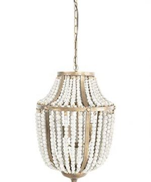 Creative Co Op EC0269 Creative Co Op Metal Chandelier With Wood Beads Ceiling Lights Antique Brass And Distressed Grey 0 300x360